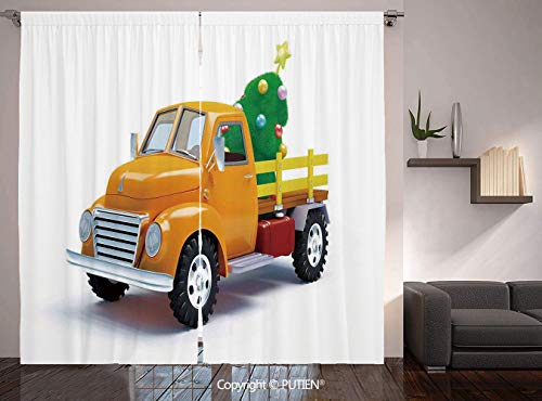 Thermal Insulated Blackout Window Curtain [ Christmas,Yellow Vintage Truck and Decorated Tree with Star Topper Old Farm Motor,White Yellow Green ] for Living Room Bedroom Dorm Room Classroom Kitchen C]()