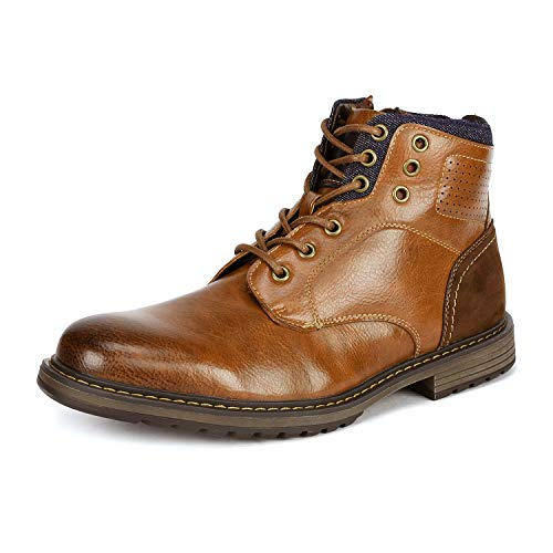 Bruno Marc Men's Philly_15 Camel Dress Combat Motorcycle Oxfords Boots Size 11 M US - Leather Formal Ankle Boot