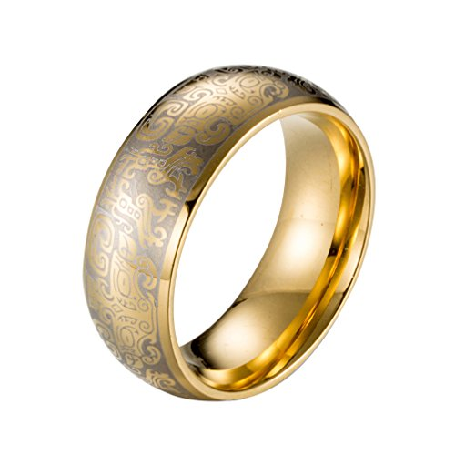 Rinspyre Men's Stainless Steel Traditional Chinese Ring Laser Engraved Mythical Symbol Taotie Signet Band Gold Size 10 - Chinese Traditional Costume History