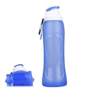 HongG Collapsible Water Bottle 500ML Water Bottle Portable Silicone Water Bottle for Camping, Traveling, Hiking