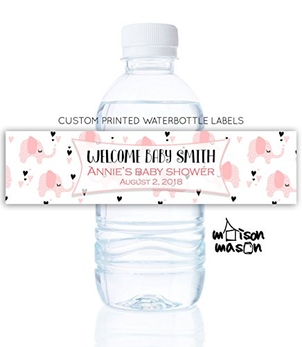 Personalized Baby Girl Water Bottle Labels - Elephant Baby Shower - Set of 10 by MaisonMason