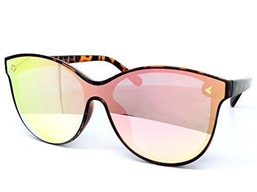 O2 Eyewear 7123 Oversize Wraparound Semi-Rimless Shield Lens Womens Mens Sunglasses (Semi-Rimless, ROSE - And Uv Difference Protection Between Polarized