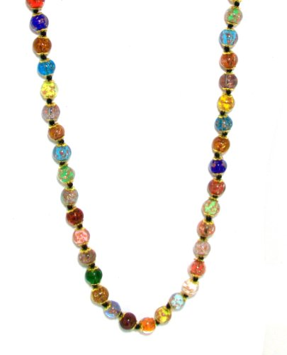 Genuine Venice Murano Sommerso Aventurina Glass Bead Long Strand Necklace in Multi-color, 26+2
