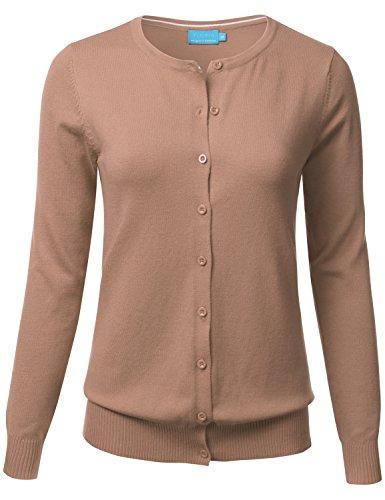 FLORIA Women Button Down Crew Neck Long Sleeve Soft Knit Cardigan Sweater Khaki (Blend Knit Cardigan)