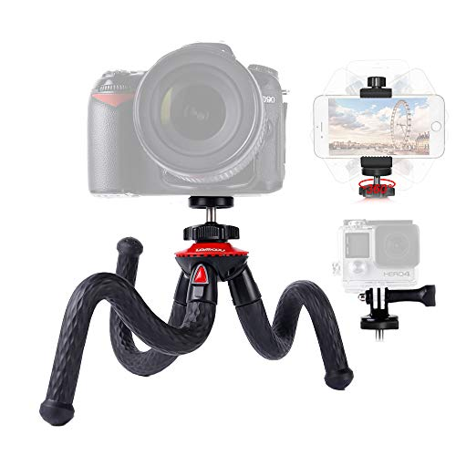 Lammcou Camera Tripod Flexible Phone Tripod Lightweight Action Camera Tripod Mini Gorilla Pod DSLR Tripod Octopus Travel Tripod Stand for Gopro/XiaomiYi/Canon/Nikon/Sony/iPhone/Samsung/LG