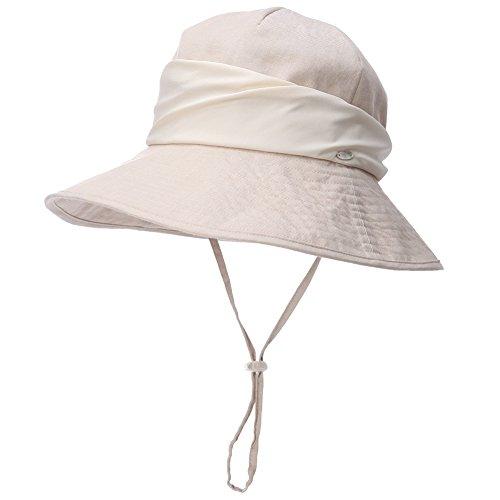 (Siggi Ladies UV 50 Protection Cotton Ramie Foldable Bucket Sun Hats Wide Brim Sunhat w/Chin Cord Summer)