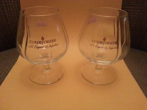 Set of Two (2) Authentic Courvoisier Contoured Snifter Cognac Glasses - Le Cognac De Napoleon ()