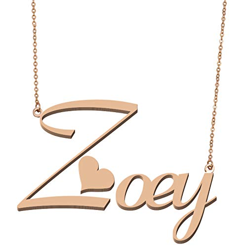 Jewelry Personalized Plate Name Earring (Aoloshow Customized Custom Name Necklace Personalized - Custom Made Zoey Necklace Initial Monogrammed Gift for Womens Girls)