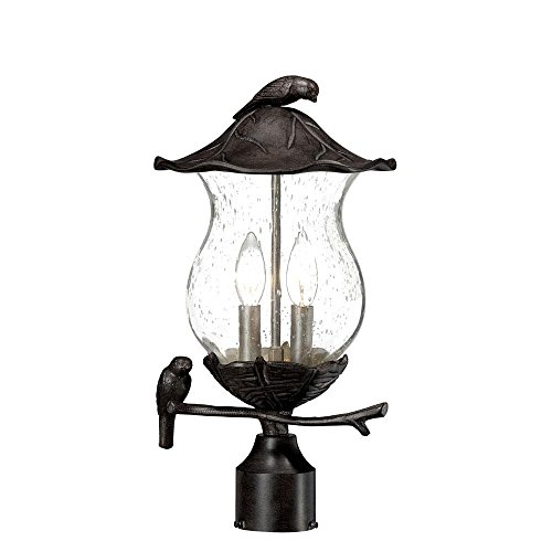 Traditional Outdoor Post Lamp - Acclaim 7567BC/SD Avian Collection 2-Light Post Mount Outdoor Light Fixture, Black Coral