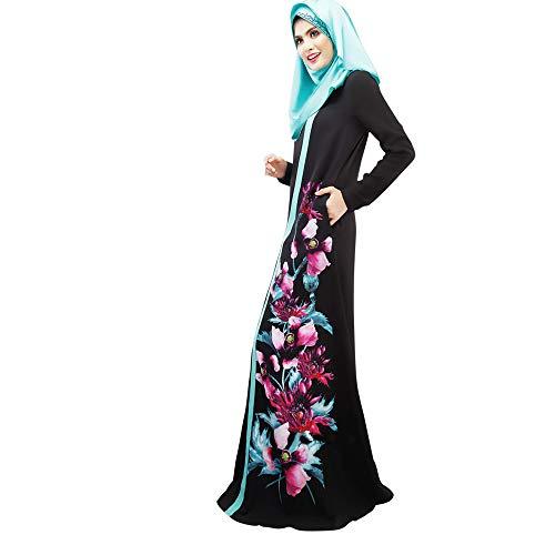 Arabian Robe Turkey Muslim Dress Islam Dlack Split Dress Arab Clothing Autumn Abayas for Women Print Floral Hooded Robe (Black, Tag L=US 8-10)