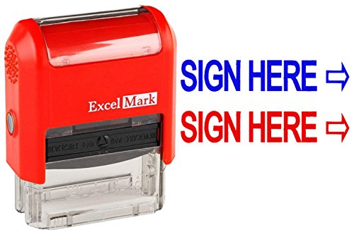 (Sign HERE - ExcelMark Self-Inking Two-Color Rubber Office Stamp - Red and Blue Ink)