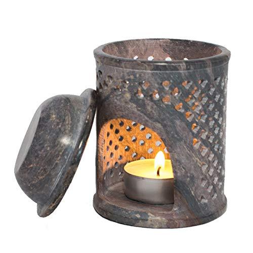 Klass Home Collection Premium Jali Soapstone Moroccan Essential Oil Tart Wax Diffuser Warmer TeaLight Holder Burner Aromatherapy, Purple, 9.5 cm x 7.5 cm