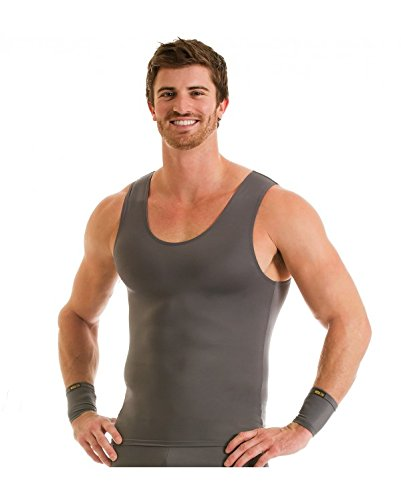 Insta Slim 3 Pack Muscle Tank, Look up to 5 inches Slimmer Instantly, Grey, Medium, The Magic is in The Fabric! by Insta Slim (Image #2)