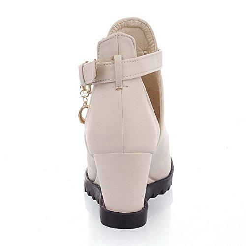 COOLCEPT Damen Mode Ankle Sandalen Peep Toe Aufzug Schuhe White