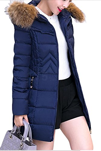 Women Generic Slim 3 Solid Coat Down Fur Color Collar Warm Fit Length Mid AfqdgBwf