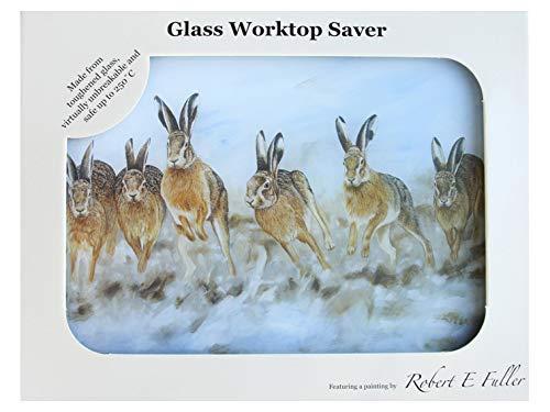 Premium Chopping Board Worktop Saver Glass with Hares by British Wildlife Artist Robert E Fuller Kitchen Gift 40x30 cm Glass Kitchenware Home. Hare