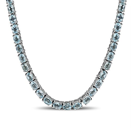 Fine Sky Blue Topaz Necklace in Sterling Silver by Luv Eclipse