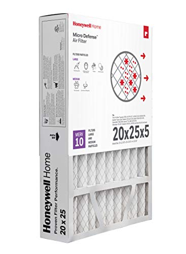 Honeywell Home MicroDefense AC Furnace Air Filter 20 x 25 x 5 MERV 10 (1 pk)
