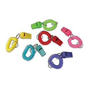 24 Colorful Spiral Bracelet and Keychain Whistles ~ 2 Dozen Fun noise making Whistles ~ Party Birthday Favors ~ Prize Fairs/ Parties /Sports Team/ Gifts Loot Bags/ Easter/ by RIN