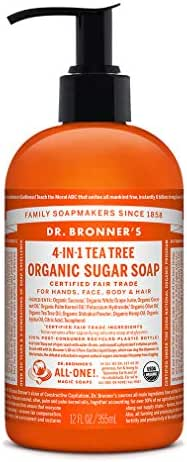 Dr. Bronner's - Organic Sugar Soap (Tea Tree, 12 Ounce) - Made with Organic Oils, Sugar and Shikakai Powder, 4-in-1 Uses: Hands, Body, Face and Hair, Cleanses, Moisturizes and Nourishes, Vegan