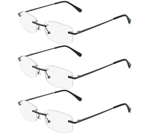 EYE ZOOM 3 Pairs Unisex Rimless Reading Glasses Metal Frameless Style Readers with Spring Hinge for Men and Women (Soft Pouch, Gunmetal - Classic Sunglasses Zoom
