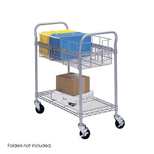 Safco 5235GR 18-3/4 in. x 26-3/4 in. x 38-1/2 in. 600 lb. Capacity Wire Mail Cart (Grey)