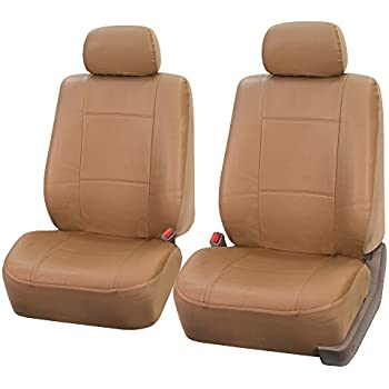 FH PU001102 PU Leather Car Front Bucket Seat Covers Solid Tan Color