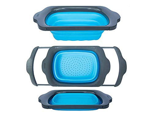 Collapsible Kitchen Colander - Over the Sink Kitchen Strainer By Comfify | 6-quart Capacity | Blue & - Colander Grips Good