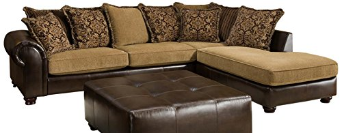 Chelsea Home Furniture Dakota 2-Piece Sectional, Tote Saddle/Cozy Burlap