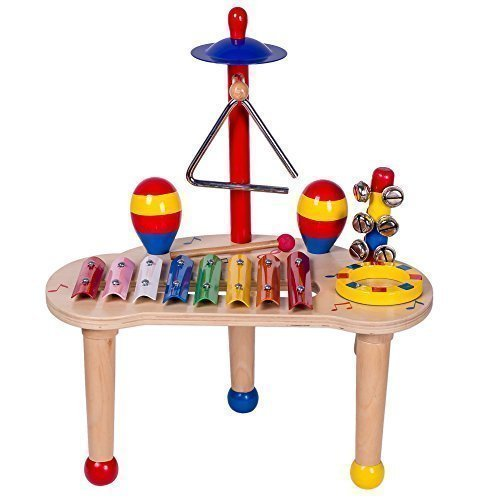 Musical Instruments 6-in-1 Toy Set for Children of All Ages from Jooni - Percussion Instrument Includes Xylophone, Maracas, Triangle, Drum, Bells & Cymbal. Help Foster Your Childs Creativity!