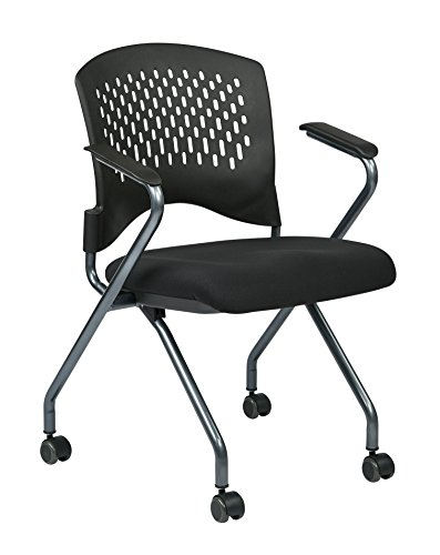 Office Star Deluxe Ventilated Plastic Back amd Padded Coal FreeFlex Seat, Fixed Arms, Titanium Finish Frame Folding Chair with Casters, 2-Pack, Black by Office Star
