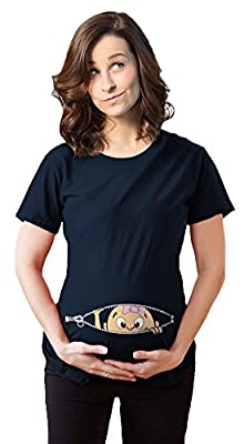 Maternity Peeking Caucasian Baby Girl Bow T-shirt Funny Cute Pregnancy Navy Tee