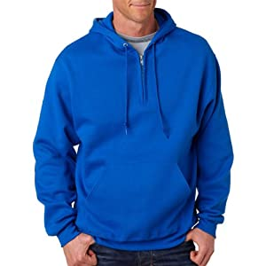 Jerzees Mens NuBlend 50/50 Fleece Quarter-Zip Pullover Hood (994MR) -ROYAL -M