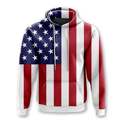 USA Patriotic American Flag Premium Drawstring Hooded Sweatshirt Hoodies - X-Large - American Flag Hooded Sweatshirt