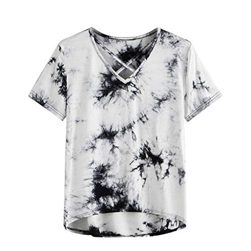 (Women's Shirts and Blouses Ladies Tie-Dyed Print Short Sleeve Front Criss Cross Shirt Pullover Tops Gray)