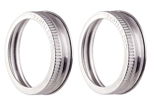 Stainless Steel Jar Bands - 304 Stainless - Durable and Rust-free Canning Rings - By EcoJarz (2, Regular Mouth (AKA Small Mouth))