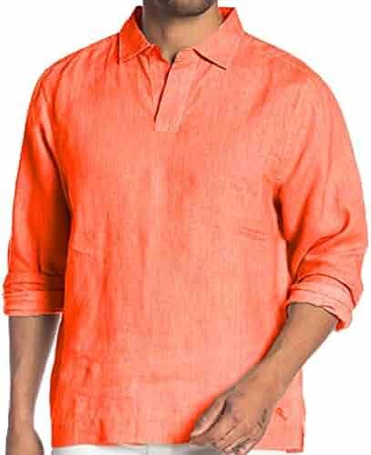 41fb132f Tommy Bahama Sea Glass Popover Long Sleeve Shirt (Burnt Coral, Medium)