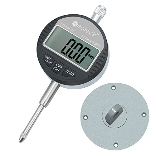 Neoteck DTI Digital Dial Indicator 0.01/.0005'' Digital Probe Indicator Dial Test Gauge Range 0-25.4mm/1'' Dial Test Indicators Electronic Indicator Gauge