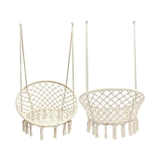 Taisheng Hammocks Chair Round Portable Rope Macrame White Swing - HIGH QUALITY: Hanging chair macrame for adult or children 100% handmade portable hammock chair INDOOR / OUTDOOR USE: Although in door use is the best recommendation we give, to be a hammock chair, of course it can be used in your back yard, porch and garden. And do not forget to take it when you plan to have a weekend of camping with your family. NORDIC STYLE:If you are an IKEA fan, this hammock chair is the best choice to decorate your home. Beige color canvas fabric, tassel on the edge, unpolished natural wood color of the wooden bar, all these characteristics distinguish this hammock chair from other plain-looking competitors. Take a good picture and share to your social media, then you just need to sit in and wait for new followers and likes. - patio-furniture, patio, hammocks - 41dEqFXRsSL. SS570  -