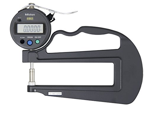 Mitutoyo 547-520SCAL Digital Thickness Gauge with Calibration and Flat Anvil, ID-S Type, Inch/Metric 0-0.47