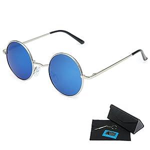 Shushu Jacob Unisex Polarized Sunglasses UV400 Protection 60s Style Round Metal - Blue Lenses Silver Frame
