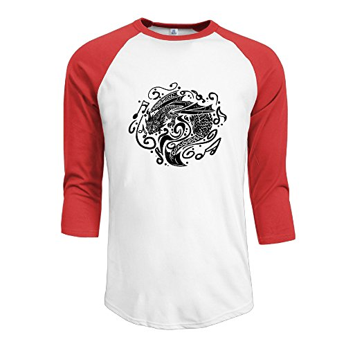 Price comparison product image Mens Imagine Dragons 100% Cotton 3/4 Sleeve Athletic Raglan Sleeves T-Shirt Red US Size M
