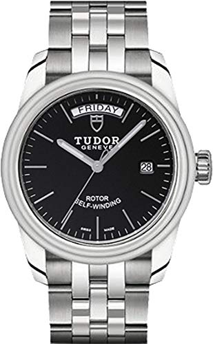 Tudor Glamour Day & Date 56000 Black Dial Stainless Steel 39mm Men's Watch