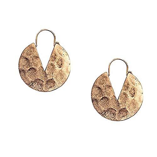 Chic Moon Simple Geometric Drop Earrings Retro Earbob Round Dangles Hoops Women Unique Boho Linear Tribal Jewelry Golden Plated