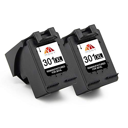Mony Remanufacturado Cartuchos de Tinta Reemplazo para HP 301 XL 301XL (2 Negro) Compatible con HP Deskjet 2540 1510 3050 2050 1512 1050 Envy 4500 ...