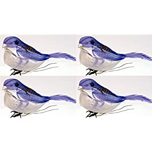 Creative Hobbies 3-1/2 Inch Feathered Artificial Blue Birds on Wire, Pack of 4 108