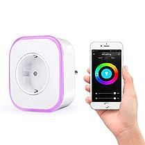 Enchufe Wifi, Hedynshine Enchufe Inteligente con USB, Control Remoto/Mando de Voz, Luces de Ambiente Colorido, Temporizador Enchufe, Compatible con Google Home/Amazon Alexa/Android/IOS