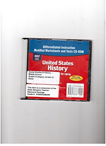 United States History: Beginnings to 1914: Differentiated Instruction Worksheets CD-ROM with Answer Key