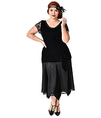 Unique Vintage Plus Size 1920s Style Black Velvet Short Sleeve Millie Flapper Dress
