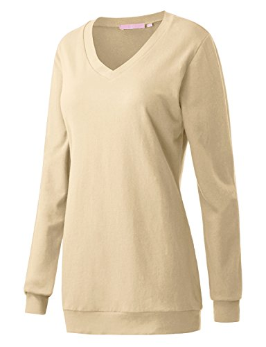 Regna X Boho for Woman Fall Loose v Neck Beige Extra Large Tunic Sweatshirts Pullover